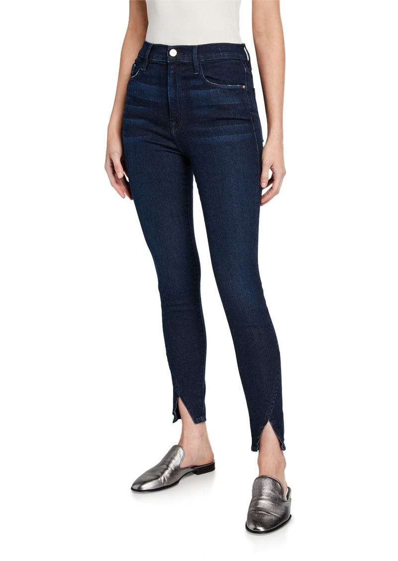 FRAME Ali High-Rise Skinny Jeans with Asymmetric Cuffs