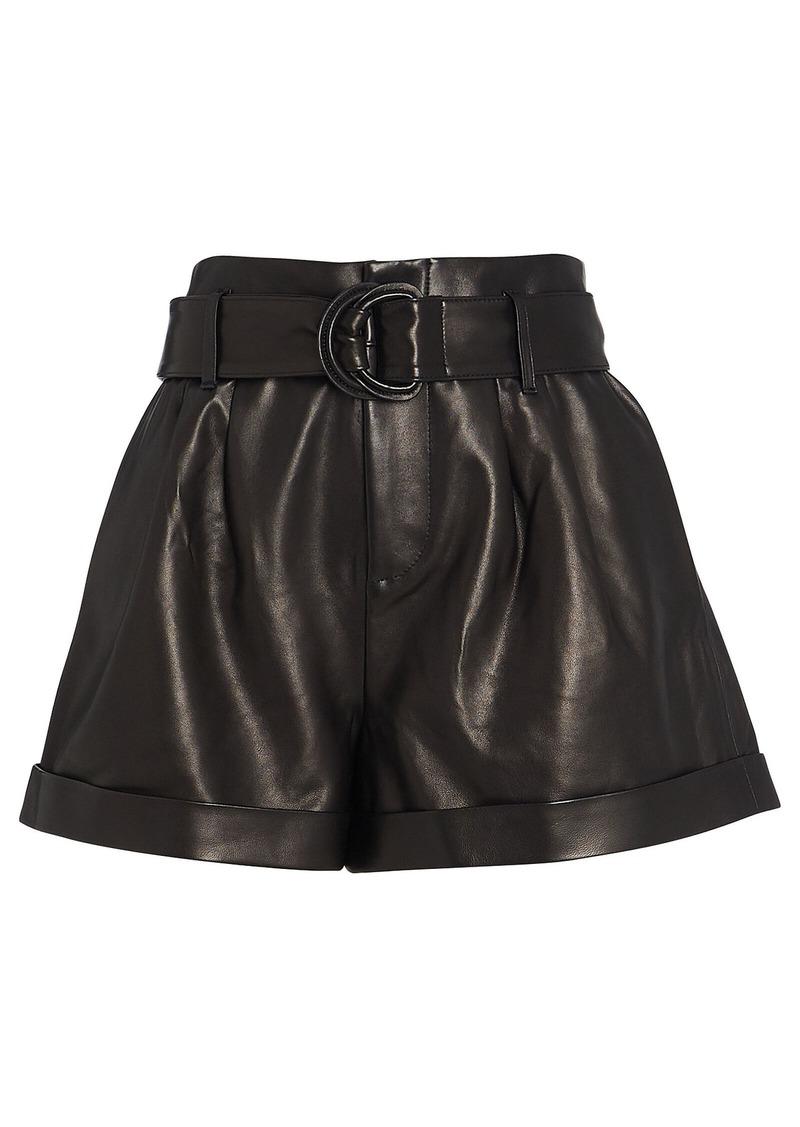 FRAME Belted Paperbag Leather Shorts