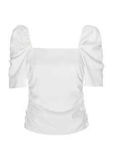 FRAME Betty Stretch-Silk Ruched Puff-Sleeve Top