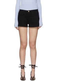FRAME Black Denim 'Le Cutoff' Cuffed Shorts