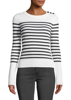 FRAME Button-Shoulder Striped Merino Wool Sweater