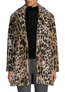 FRAME Cheetah Print Faux-Fur Coat
