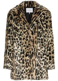 FRAME Cheetah print faux fur coat