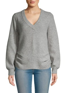 FRAME Cinched Rib-Knit V-Neck Wool & Cashmere Sweater