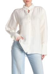 FRAME Clean Stand Collar Linen Blend Shirt
