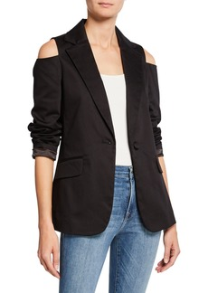 FRAME Cold-Shoulder Button-Front Blazer