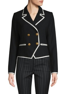 FRAME Contrast Double-Breasted Wool Jacket