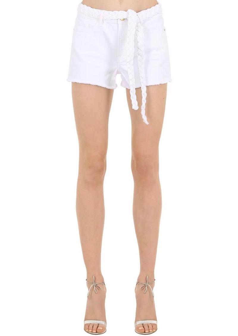 FRAME Cotton Blend Denim Shorts W/braided Belt
