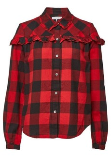FRAME Cotton Flannel Ruffle Check Button Down Shirt