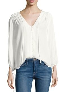 FRAME Crepe Lace-Up Bracelet-Sleeves Shirt