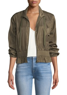 FRAME Cropped Zip-Front Cinched Jacket