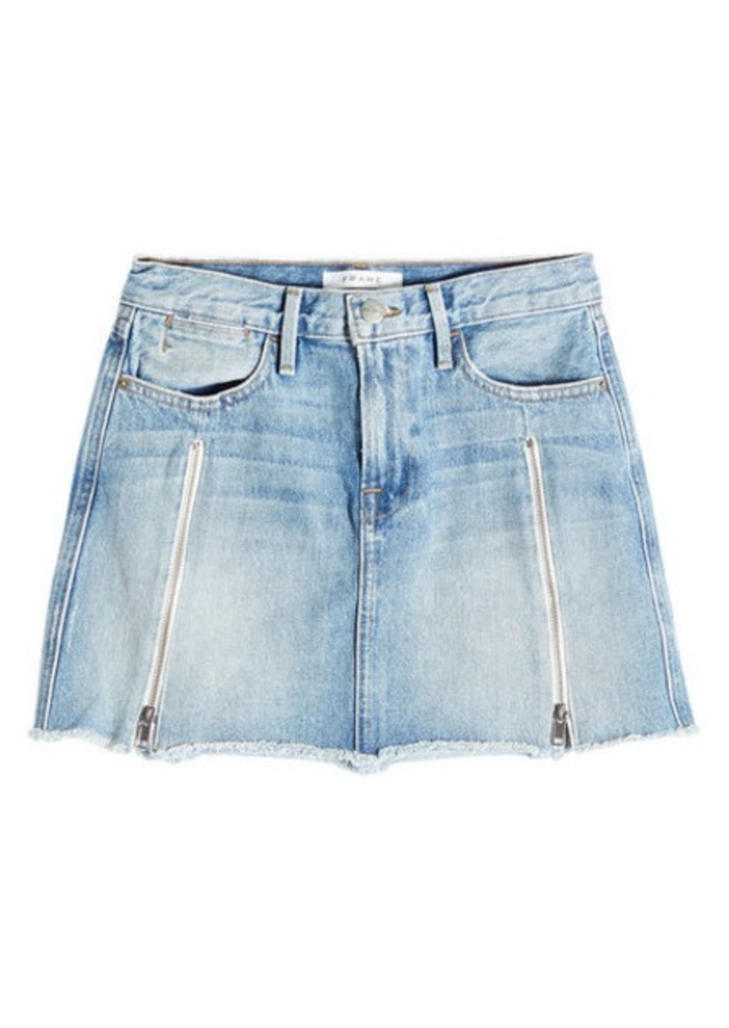 FRAME Denim Mini Skirt with Zippers