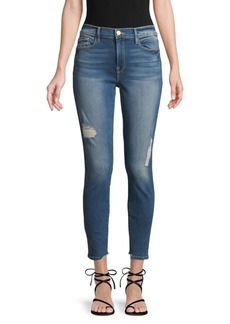 FRAME Distressed Cropped Skinny Jeans