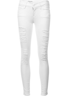 FRAME distressed skinny cropped jeans