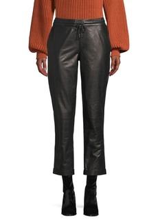 FRAME Drawstring Leather Trousers