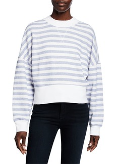 FRAME Drop-Shoulder Striped Crewneck Pullover Top