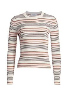FRAME Easy Ribbed Wool Striped Sweater