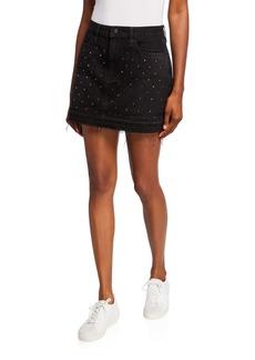 FRAME Embellished Stud Denim Mini Skirt