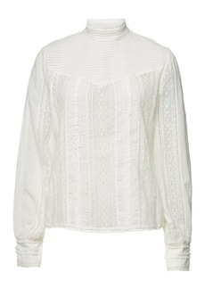 FRAME Embroidered Lace Blouse with Cotton