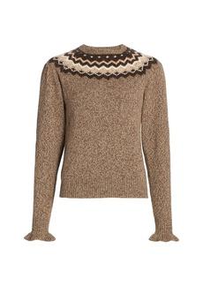 FRAME Fairisle Ruffle-Cuff Crewneck Sweater