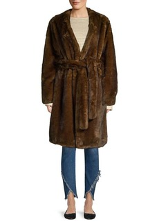 FRAME Faux Mink Wrap Coat