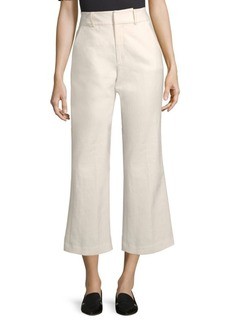 FRAME Fine Linen Boot-Cut Pants