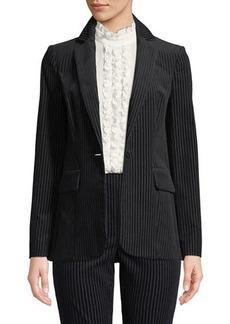 FRAME Fine Variegated One-Button Blazer Jacket