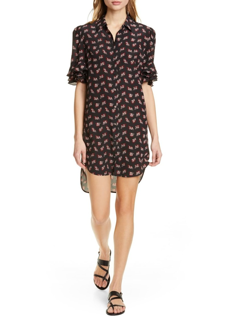 FRAME Floral Ruffle Sleeve Silk Shirtdress