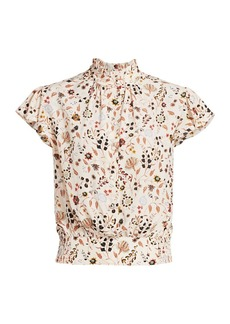 FRAME Floral Ruffle Top