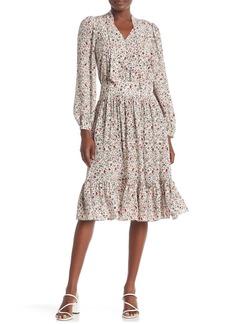 FRAME Floral Tie Neck Silk Dress