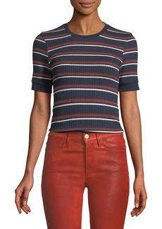 FRAME 70s Striped Fitted Crewneck Tee