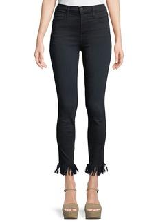 FRAME Ali High-Rise Skinny-Leg Jeans w/ Fray Hem