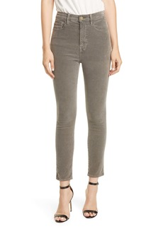 FRAME Ali High Waist Ankle Skinny Cigarette Corduroy Pants (Smoke)
