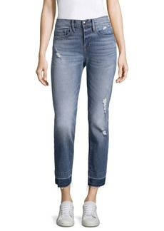 FRAME Ankle-Length Distressed Jeans