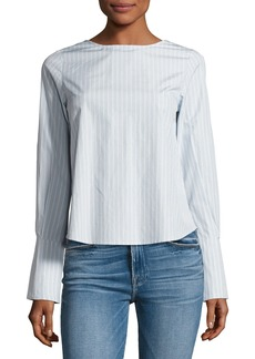 FRAME Backwards Long-Sleeve Poplin Blouse