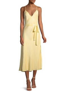FRAME Belted Satin Midi-Length Slip Cocktail Dress
