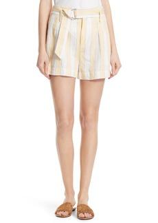 FRAME Belted Stripe Linen Shorts