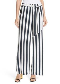 FRAME Belted Stripe Wide Leg Silk Pants