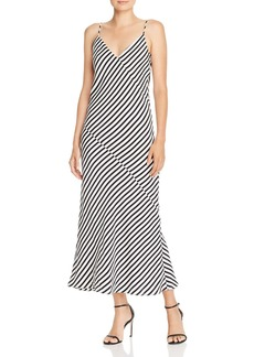 FRAME Bias-Cut Striped Silk Slip Dress