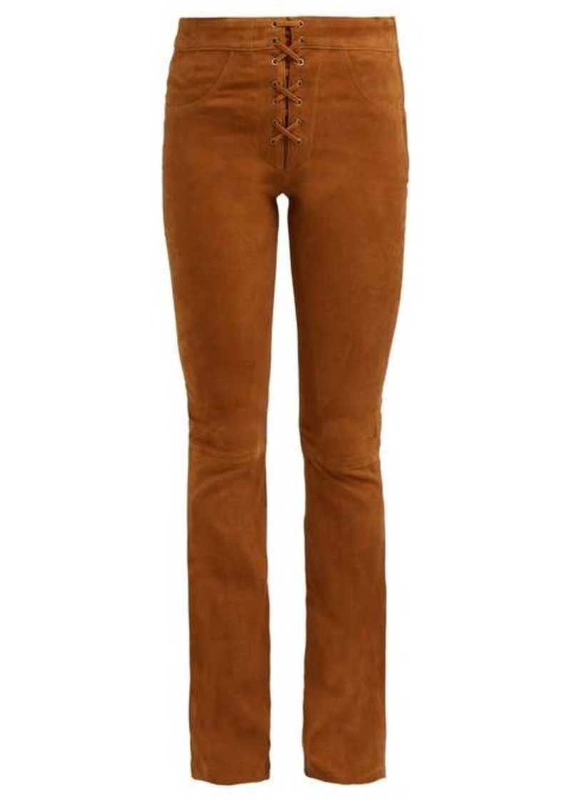 Frame Boot-cut suede trousers