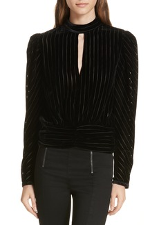 FRAME Burnout Stripe Velvet Blouse