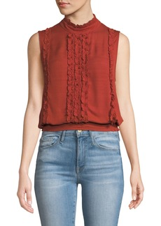 FRAME Button-Back Sleeveless Ruffle Top