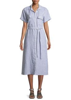 FRAME Button-Down Short-Sleeve Striped Linen Shirtdress