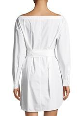 FRAME Button-Front Long-Sleeve Belted Poplin Dress
