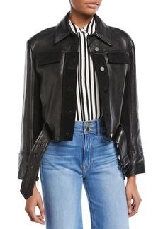 FRAME Button-Front Paneled Leather Moto Jacket