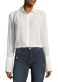 FRAME Button-Front Pintucked-Cuffs Chiffon Blouse