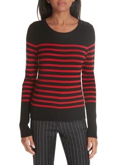 FRAME Button Shoulder Stripe Merino Wool Sweater