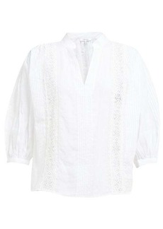 Frame Cali lace-insert ramie blouse