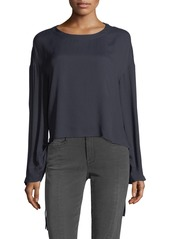 FRAME Cinched Swing Silk Top with Tie Details