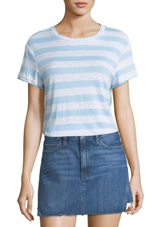 FRAME Classic Crewneck Striped Linen Tee